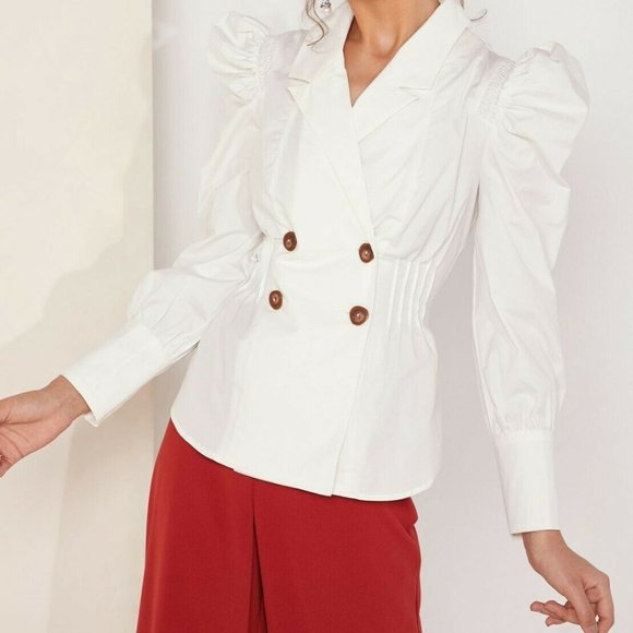C/MEO COLLECTIVE ivory puffy sleeve buttoned top